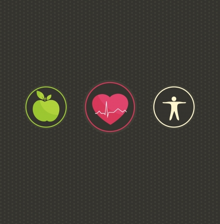 Photo for Healthy lifestyle concept illustration. Colorful symbol set on a dark dots background. Healthy food and fitness leads to healthy heart and life.  - Royalty Free Image