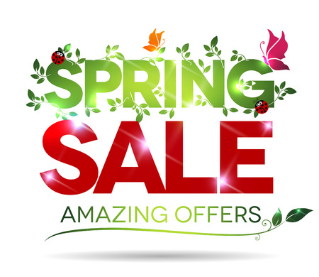 Illustration for Spring sale, amazing offers message on a white background - Royalty Free Image