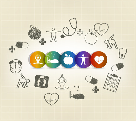 Photo for Health care symbol set, hand drawn illustrations. Healthy food, fitness, no stress, healthy weight, doctor visits, good sleep leads to healthy heart and life. - Royalty Free Image