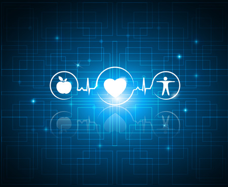 Ilustración de Healthy living symbols on a technology background. Cardiology health care symbols connected with heart beat rhythm. Healthy food and fitness leads to healthy heart and life.  - Imagen libre de derechos