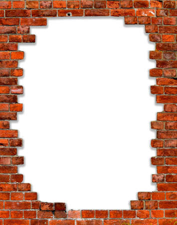 hole in a brick wall with isolated on white edges