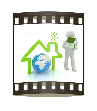 3d man, house icon and earth. The film strip