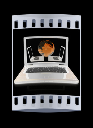 Computer Network Online concept on a black background. The film strip