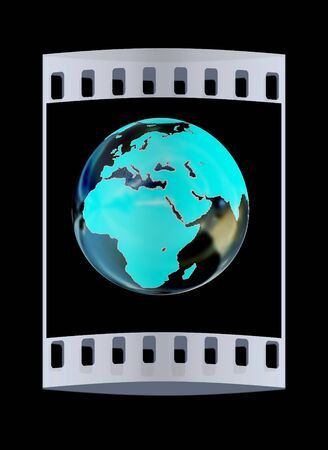 Chrome Globe isolated on black background. The film strip