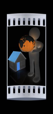 3d man, houses and earth on a black background. The film strip
