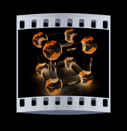 Abstract molecule model of the Earth on a black. The film strip