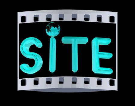 3d illustration text 'site'. The film strip