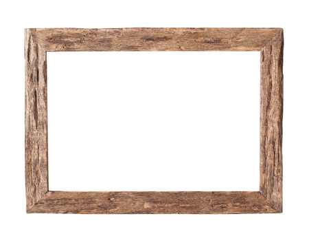 Photo pour Wooden Frame.  Rustic wood frame isolated on the white background with clipping path - image libre de droit