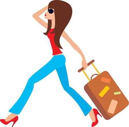 Illustration pour Young woman runs with a suitcase - image libre de droit