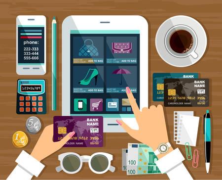 Ilustración de Shopping in online store, Internet shopping.  - Imagen libre de derechos