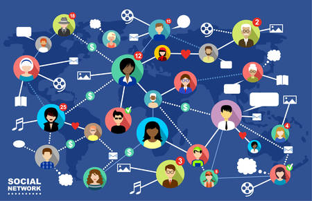 Foto de The concept of social networks, internet and online communication. - Imagen libre de derechos