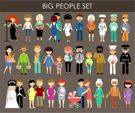 Photo pour Set of people of different professions and ages. - image libre de droit