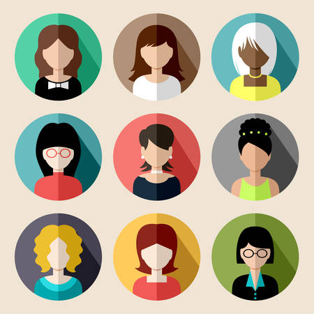 Illustrazione per Set of round flat icons with women. - Immagini Royalty Free