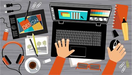 Ilustración de Flat design of creative office workspace, workplace of a designer. Vector illustration - Imagen libre de derechos