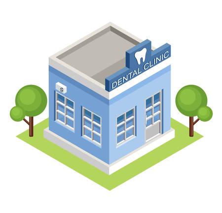 Illustration pour Image isometric dental clinic, standing on the grass. Vector illustration - image libre de droit