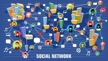 Ilustración de Social network concept - Imagen libre de derechos