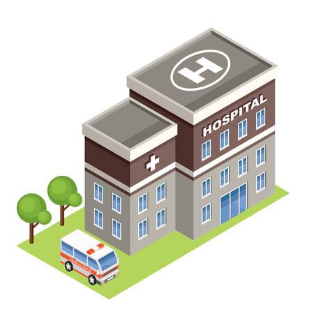 Illustration pour isometric hospital - image libre de droit
