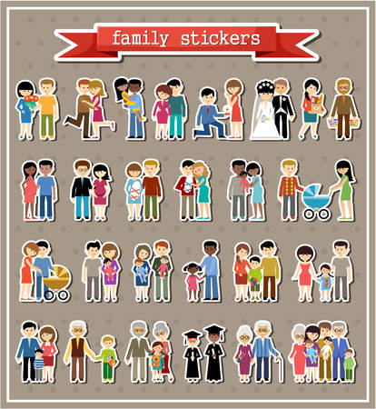 Illustration pour Stickers of family life in style flat design.  - image libre de droit
