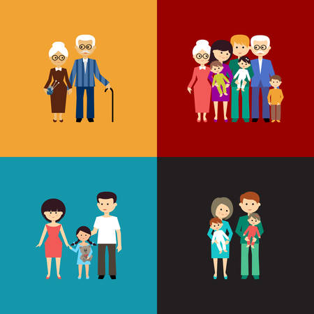 Photo for Flat set of family life. Vector illustration - Royalty Free Image