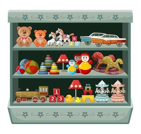 Illustration pour Wooden show-window of shop with vintage toys. Vector illustration - image libre de droit