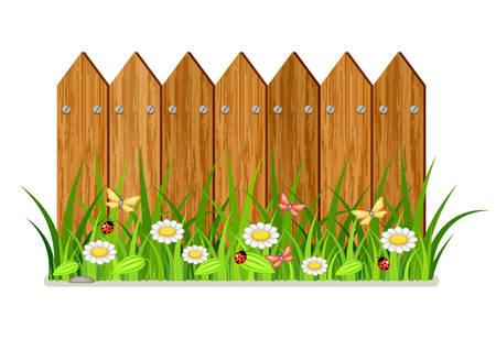 Ilustración de Wooden fence with grass and flowers - Imagen libre de derechos