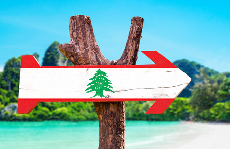 Lebanon flag wooden sign board in wetland background