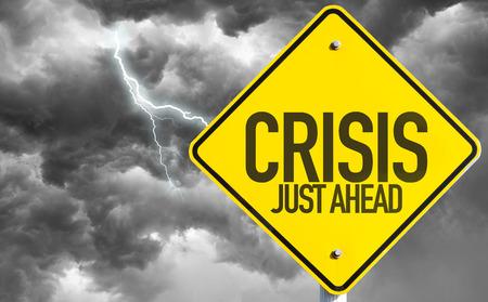 Foto de Crisis Just Ahead sign with a bad day - Imagen libre de derechos