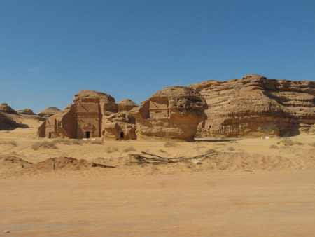 Photo pour Madain Saleh, archaeological site with Nabataean tombs in Saudi Arabia (KSA) - image libre de droit