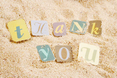 Photo for thank you on sand  great for postcard or greeting - Royalty Free Image
