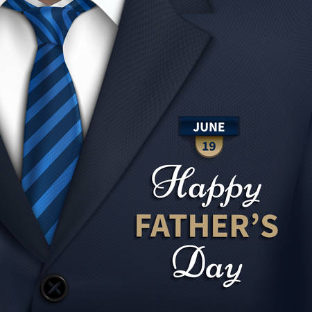 Illustrazione per Happy Fathers Day greeting. Vector background with  necktie,costume Good vector illustration - Immagini Royalty Free