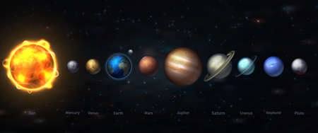 Foto de The solar system in our galaxy is all the planets of our system.  vector illustration of astronomy and astrology - Imagen libre de derechos