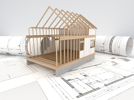 Foto per design and construction of wooden house - architects technical drawings and design  - Immagine Royalty Free