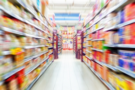 Photo for Empty supermarket aisle, Motion Blur. - Royalty Free Image