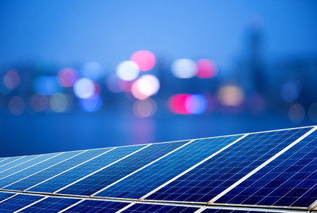 Photo pour Urban landscape as the background of the solar panel - image libre de droit