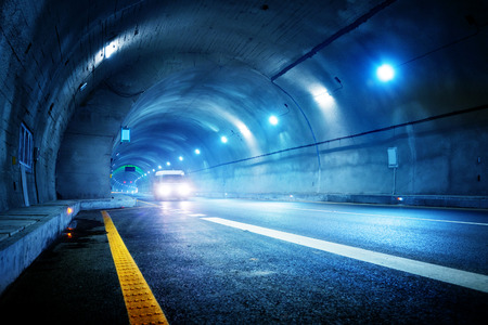 Photo pour High-speed car in the tunnel, Motion Blur. - image libre de droit