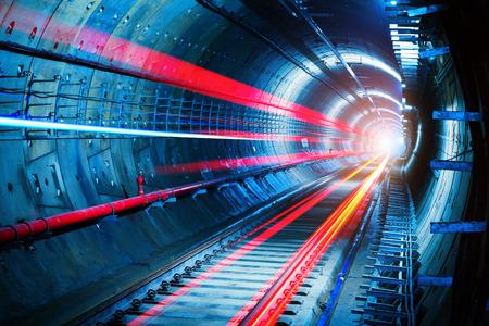 Photo pour Light trails in the subway tunnel - image libre de droit