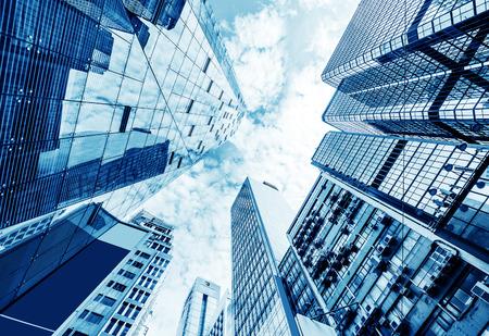 Foto de Toned image of modern office buildings in central Hong Kong. - Imagen libre de derechos