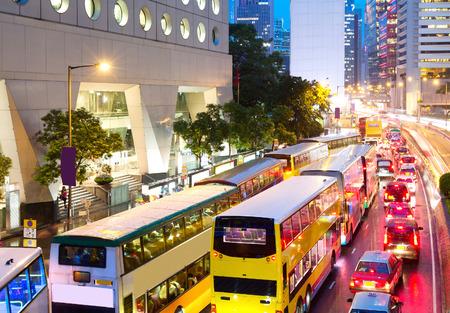 Foto de Road Central, Hong Kong China, evening peak traffic jam. - Imagen libre de derechos