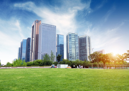 Photo pour Hangzhou, Zhejiang, China, leisure and high-rise buildings of the public. - image libre de droit