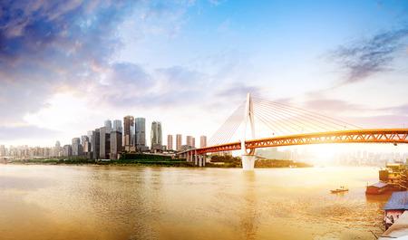 Photo pour Twilight moment, the modern buildings in the Yangtze River, Chongqing, China. - image libre de droit