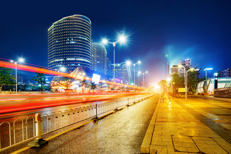 Photo pour Night view of modern city, Nanning, China. - image libre de droit
