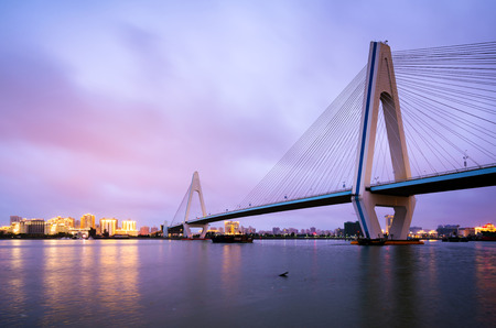 Foto de City skyline and sea bridge at night, Haikou, Hainan, China - Imagen libre de derechos