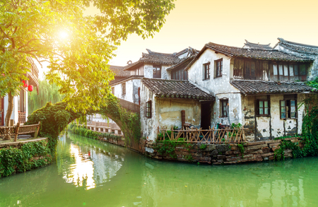 Foto de Zhouzhuang, China is a famous water town in the Suzhou area. There are many ancient towns in the south of the Yangtze River. - Imagen libre de derechos