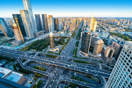 Photo pour High-rise buildings and viaducts in the city's financial district, Beijing, China. - image libre de droit