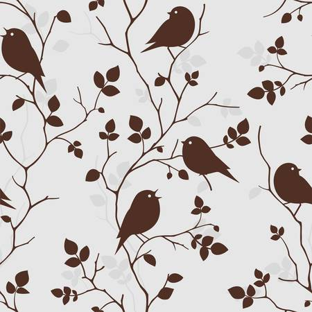 Wallpaper with birds  Seamless pattern