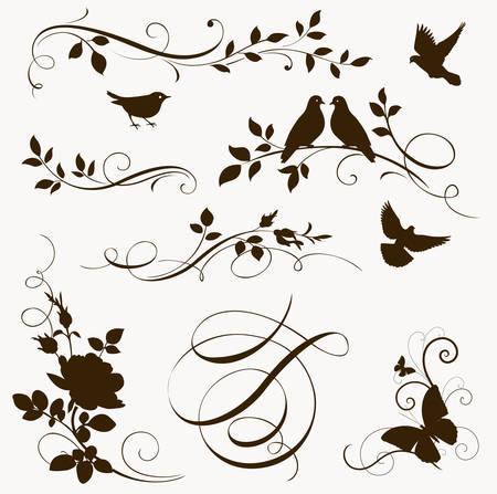 Illustration pour Decorative floral calligraphic elements. Set of spring silhouettes - image libre de droit