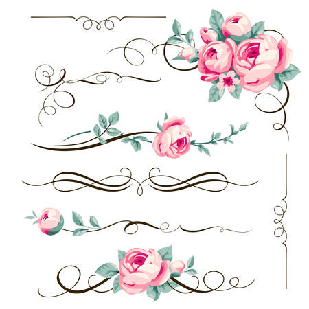 Illustration pour Decorative calligraphic elements and flowers for your design. Floral dividers and ornaments with pink rose - image libre de droit