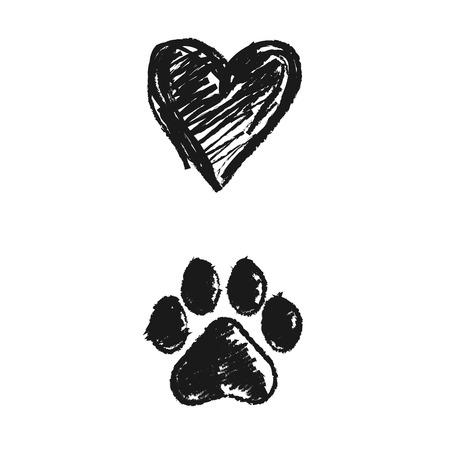 Ilustración de hand drawn doodle of animal footprint and heart, Vector illustration. - Imagen libre de derechos