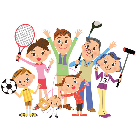 Photo pour I enjoy sports with family - image libre de droit