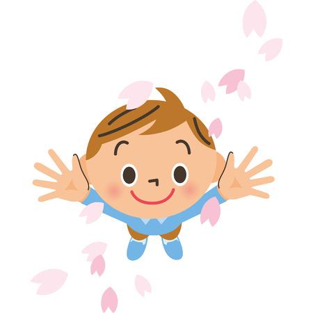Cherry blossom petals and boy